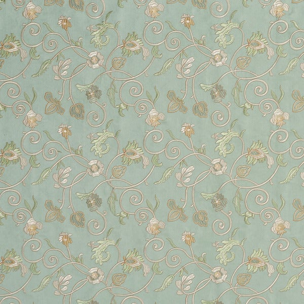 Light Green/ Ivory and Gold Stitched Vines Suede Upholstery Fabric by the Yard