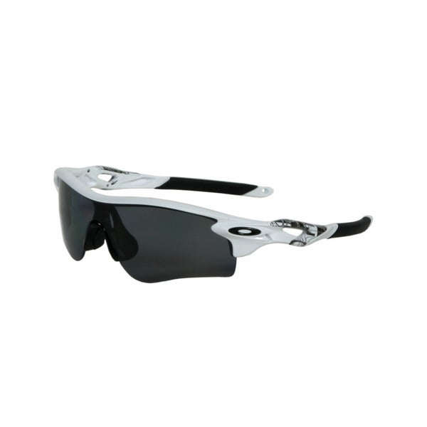 Oakley Matte White Radarlock Path Sunglasses with Grey Polarized Lenses