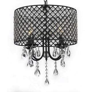 Wrought Iron and Crystal 4 Light Chandelier Lighting