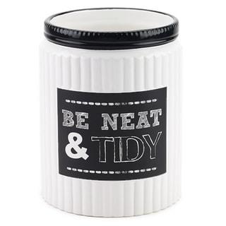 Chalk It Up White/ Black Ceramic Wastebasket