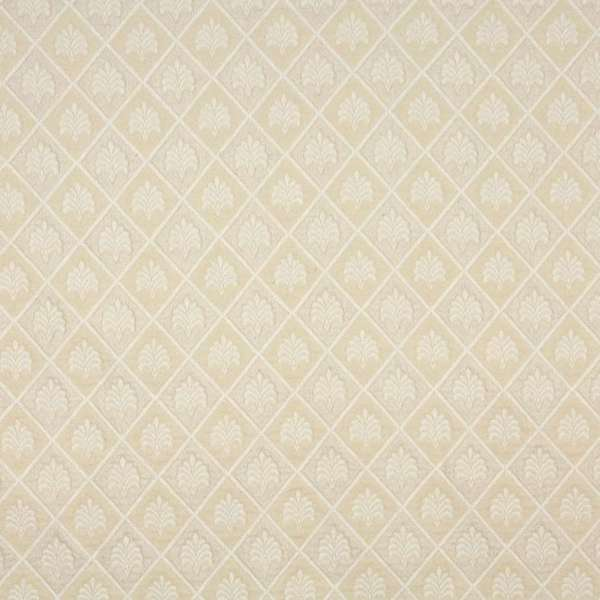 A102 Off White Floral Diamond Upholstery Fabric (By The Yard)