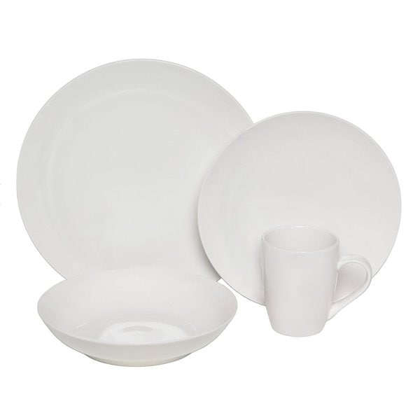 Melange Coupe Porcelain 16-piece Place Setting, White (Serves 4)
