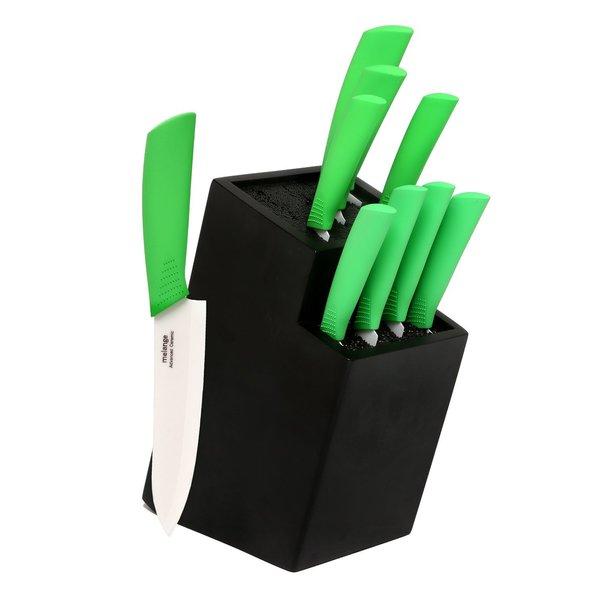 Melange 10-piece Lime Ceramic Knife Set with 2-tier Black Wood Universal Knife Block