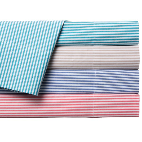 Oxford Stripe 100-percent Cotton Yarn Dyed Sheet Sets