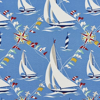 Blue Red Green And Yellow Sailboats Outdoor Upholstery Fabric (By The Yard)
