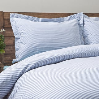 Oxford Stripe 100-percent Cotton Yarn Dyed 3-piece Duvet Cover Set