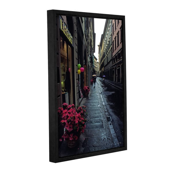 ArtWall Kathy Yates 'Rainy Day In Florence' Gallery-wrapped Floater-framed Canvas