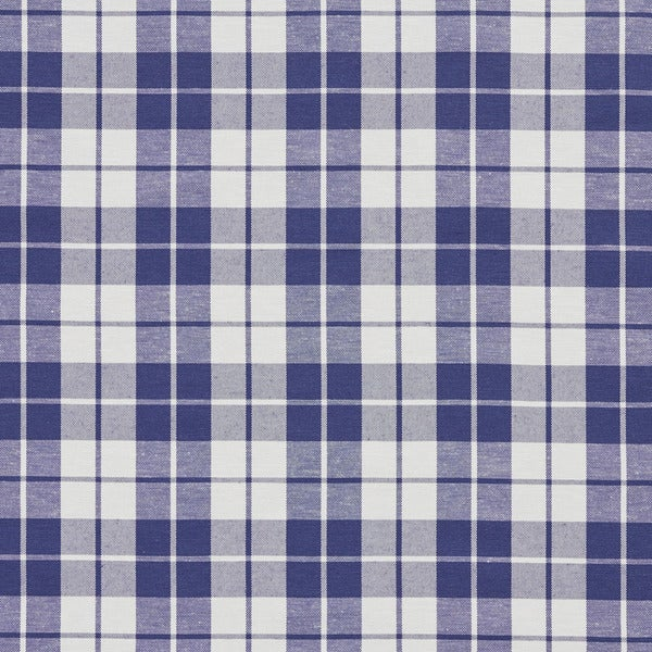 Denim Blue and White Plaid Cotton Heavy Duty Upholstery Fabric by the Yard