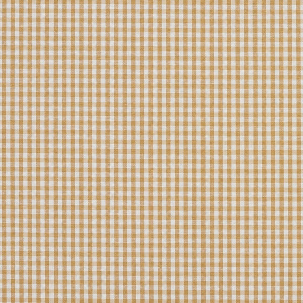 Gold and White Small Gingham Cotton Heavy Duty Upholstery Fabric by the Yard