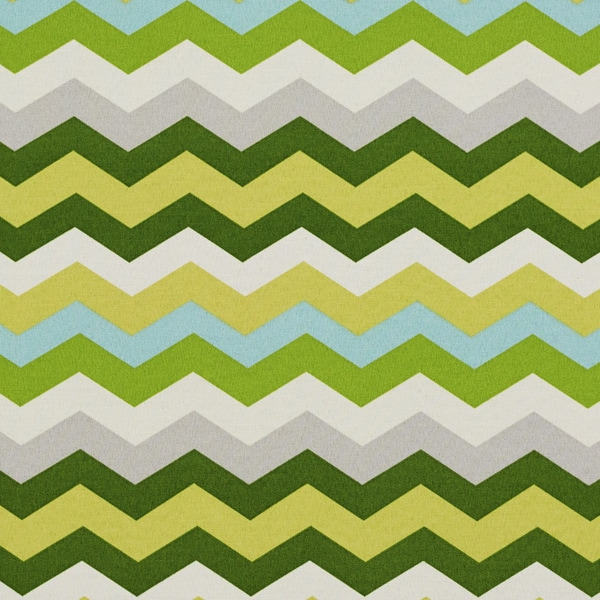 Green Yellow Grey And Blue Chevron Outdoor Print Upholstery Fabric (By The Yard)