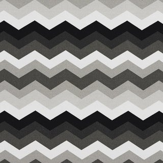 Black Grey And White Chevron Flame Stitch Outdoor Upholstery Fabric (By The Yard)