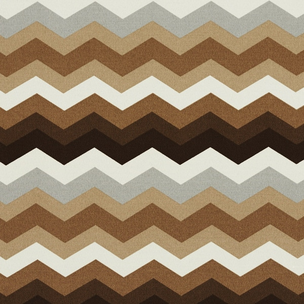 Brown Grey And White Chevron Flame Stitch Outdoor Upholstery Fabric (By The Yard)