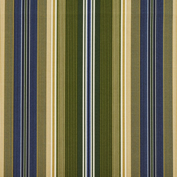 Blue Green And Gold Various Striped Outdoor Print Upholstery Fabric (By The Yard)