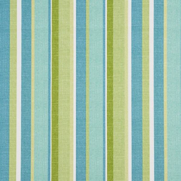 Green Blue And White Various Striped Outdoor Upholstery Fabric (By The Yard)
