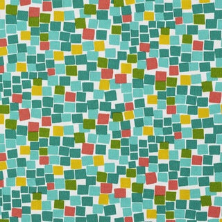 Green Teal Yellow And Red Boxes Outdoor Print Upholstery Fabric