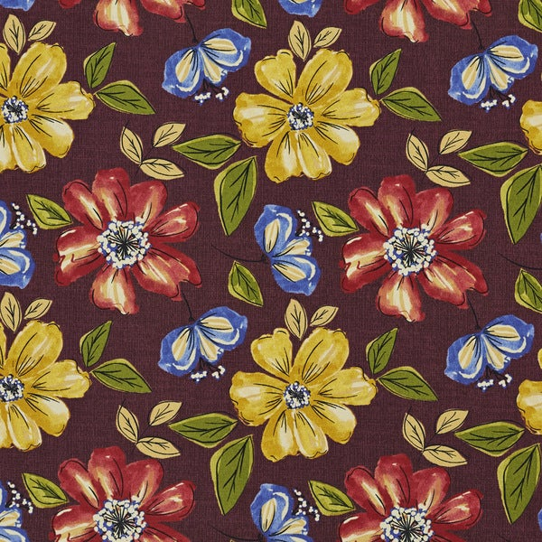 Blue Red Yellow And Green Floral Outdoor Print Upholstery Fabric (By The Yard)