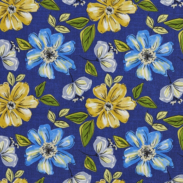 Blue Green Yellow And Grey Floral Outdoor Print Upholstery Fabric (By The Yard)