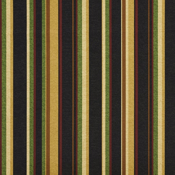 Black Red And Gold Various Striped Outdoor Print Upholstery Fabric (By The Yard)