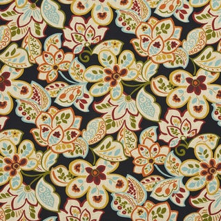 Green Blue Gold Red And Orange Floral Outdoor Upholstery Fabric (By The Yard)