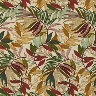 Red Green And Gold Vibrant Leaves Outdoor Print Upholstery Fabric (By The Yard)