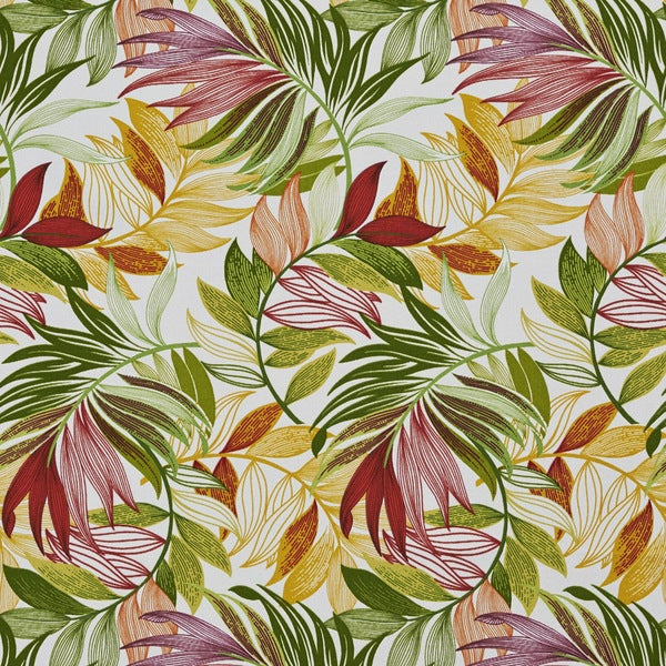Green Red And Yellow Vibrant Leaves Outdoor Print Upholstery Fabric (By The Yard)