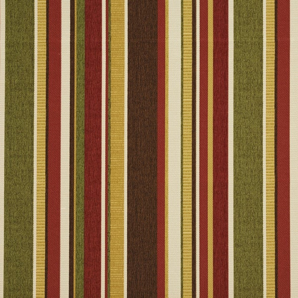 Red Green Brown And Gold Various Striped Outdoor Upholstery Fabric (By The Yard)
