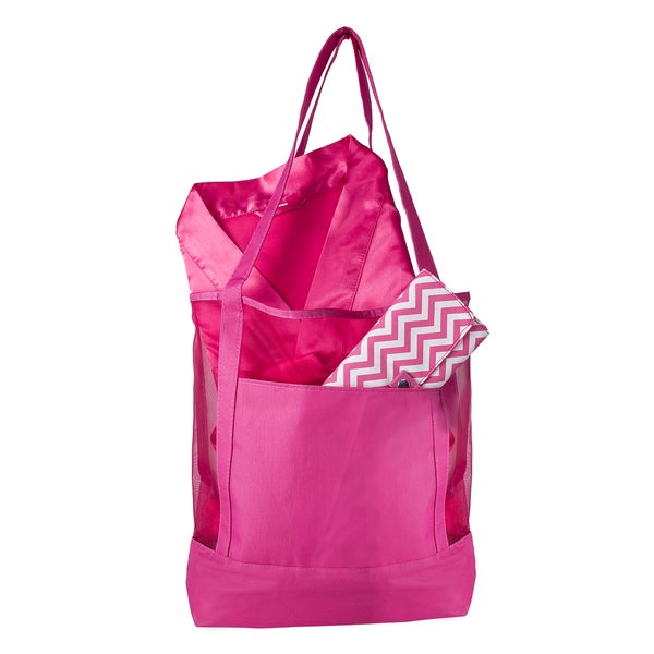 3-piece Bright Pink Mesh Tote Spa Set