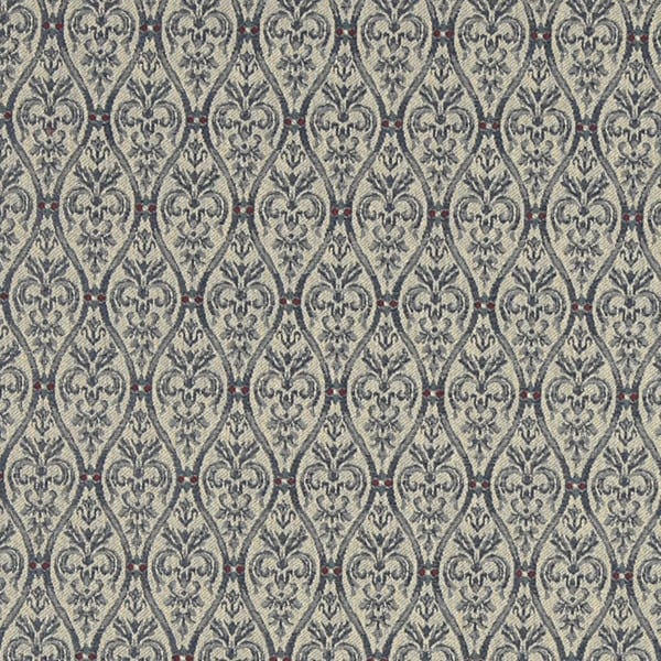 A486 Navy Tan and Burgundy Waves Lines and Foliage Upholstery Fabric by the Yard