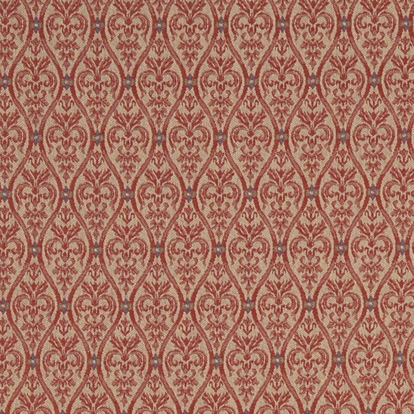 A481 Coral and Tan Waves Lines and Foliage Upholstery Fabric by the Yard