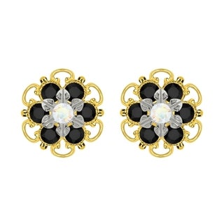Lucia Costin Yellow Goldplated Sterling Silver White and Black Crystal Stud Earrings