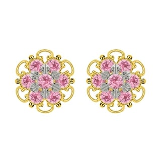 Lucia Costin Yellow Goldplated Sterling Silver Light Pink Crystal Stud Earrings