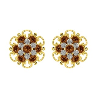 Lucia Costin Yellow Goldplated Sterling Silver Brown Crystal Stud Earrings