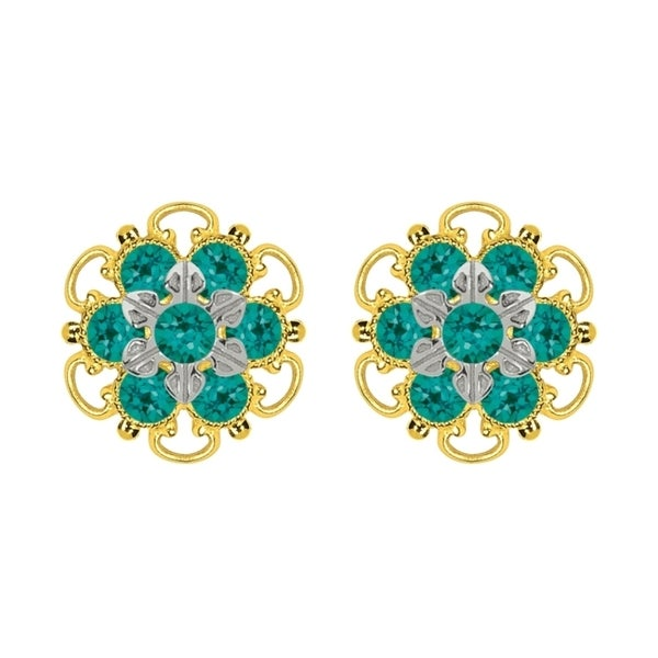 Lucia Costin Goldplated Sterling Silver Green Crystal Stud Earrings