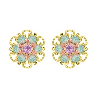 Lucia Costin Rose Gold Over Sterling Silver Lilac/ Mint Blue Crystal Stud Earrings