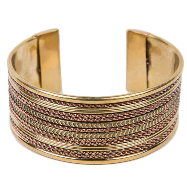 Ornate Brass Cable Cuff (India)