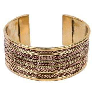 Ornate Brass Cable Cuff (India)