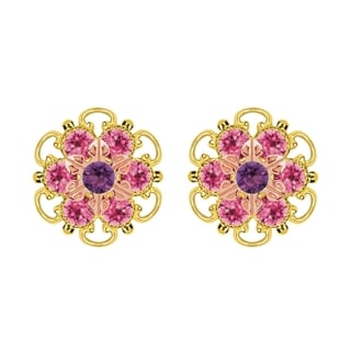 Lucia Costin Rose Gold Over Sterling Silver Violet/ Pink Crystal Stud Earrings