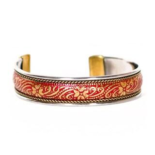 Thin Poppy Brass Bollywood Cuff (India)