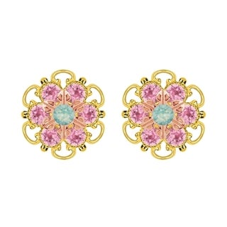Lucia Costin Rose Gold Over Sterling Silver Mint Blue/ Light Pink Crystal Stud Earrings