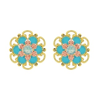 Lucia Costin Rose Gold Over Sterling Silver Mint Blue/ Turquoise Crystal Stud Earrings