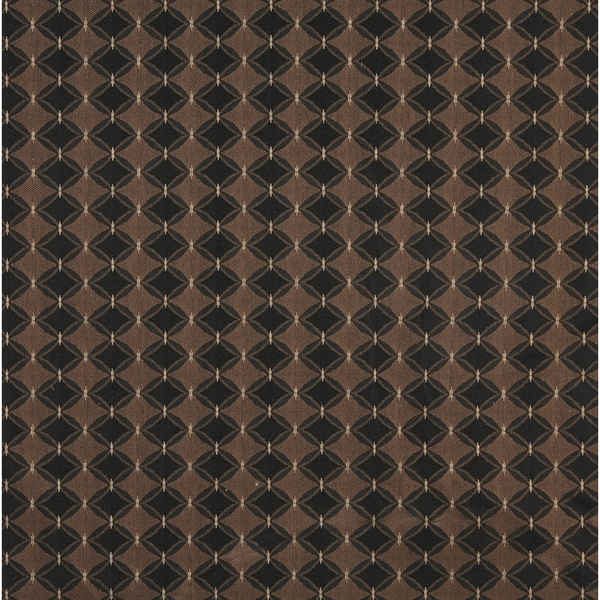 A414 Black and Tan Elegant Diamond and Lines Upholstery Fabric by the Yard