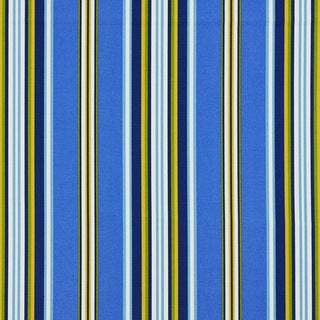 Blue/ Yellow/ White and Green Striped Outdoor Upholstery Fabric by the Yard