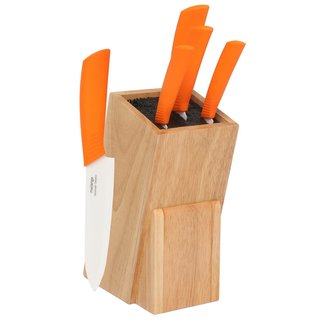 Melange 6-piece Orange Ceramic Knife Set with Wooden Universal Knife Block