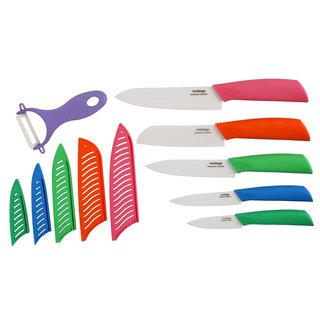 Melange 11-piece Multi-colored Ceramic Knife Set