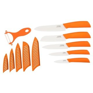 Melange 11-piece Orange Ceramic Knife Set