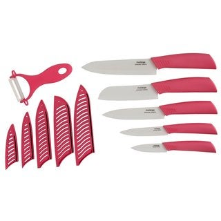 Melange 11-piece Pink Ceramic Knife Set