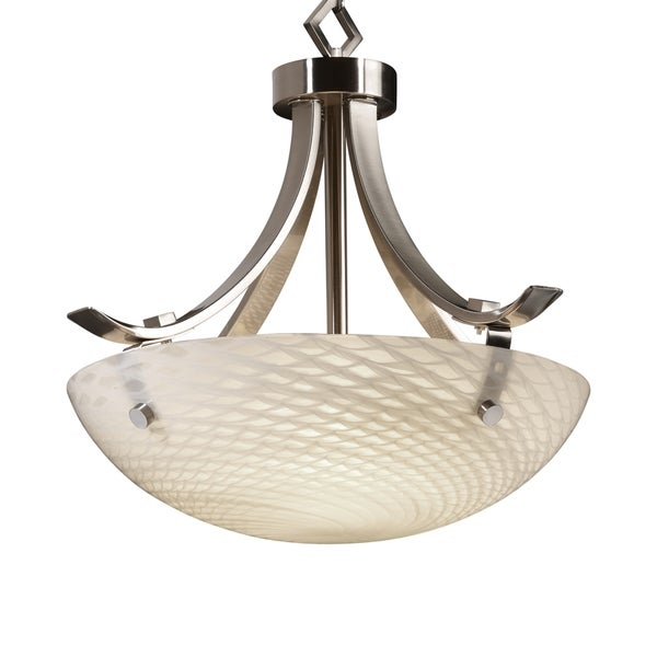 Justice Design Group Fusion-Flat Bars with Finials 3-light Pendant
