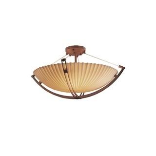 Justice Design Group Porcelina-Crossbar 3-light Bronze Semi-flush Mount