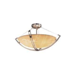 Justice Design Group Porcelina-Crossbar 3-light Nickel Semi-flush Mount