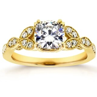 Annello 14k Yellow Gold Cushion-cut Moissanite and 1/5 ct TDW Diamond Antique Floral Engagement Ring (G-H, I1-I2)